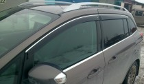 Дефлекторы окон Kia Ceed hatchback 5dr 2013- с хромированным молдингом Cobra Tuning