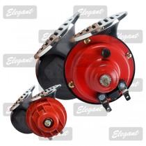 Сигнал звуковой «улитка» 2-тоновый Compact 12V красно-черный крышка хром Elegant