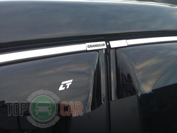 Ветровики Hyundai Grandeur 2005-2011 с хром полосой