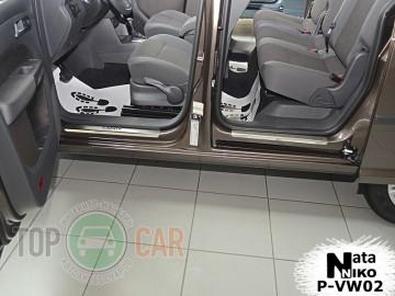 Накладки на пороги стальные VW CADDY III/IV 2004-