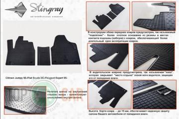 Stingray Коврики резиновые Citroen Jumpy 95-/Fiat Scudo 95-/Peugeot Expert 95- без перемычки