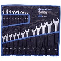 Набор комбинированных ключей 22 единицы (6-19, 10и13 по 2шт., 21, 22, 24, 27, 30, 32) в сумке  СТАНДАРТ