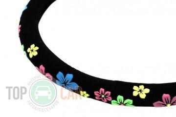 Elegant Чехол руля чёрный с рисунком (цветы)