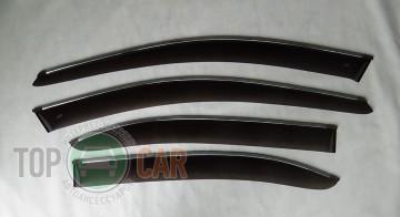 Дефлекторы окон VW Jetta 2005-2010  с хромированным молдингом