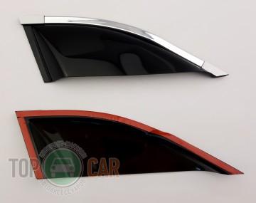 Cobra Tuning Дефлекторы окон VW Tiguan 2007-2015 третья часть с хромированным молдингом