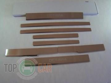 Накладки на пороги стальные SKODA OCTAVIA A7 2013-