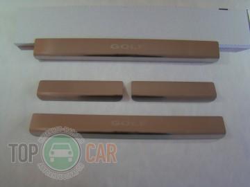 Накладки на пороги стальные VW GOLF VII 2012-