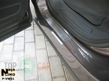 Накладки на пороги стальные VW TOUAREG II 2010-
