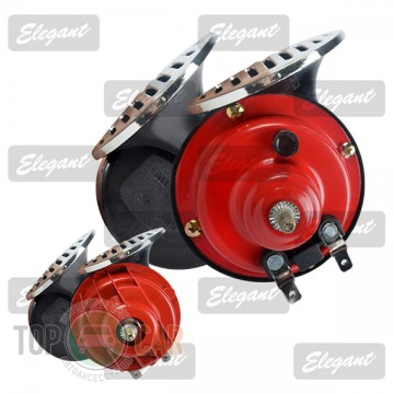 Elegant —игнал звуковой Ђулиткаї 2-тоновый Compact 12V красно-черный крышка хром